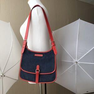 Dooney & Bourke Lined in Red Leather Denim Bag